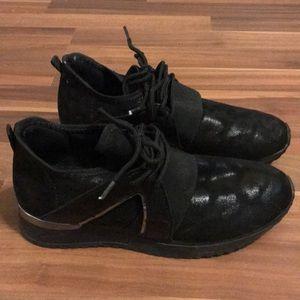 Black sock fit shoe, cheetah print